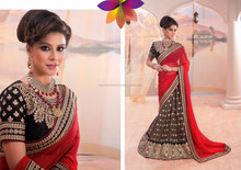 Brown & Red Colour Saree With Black Color Velvet Blouse & Red Pipeping Beauty Designer Sarees