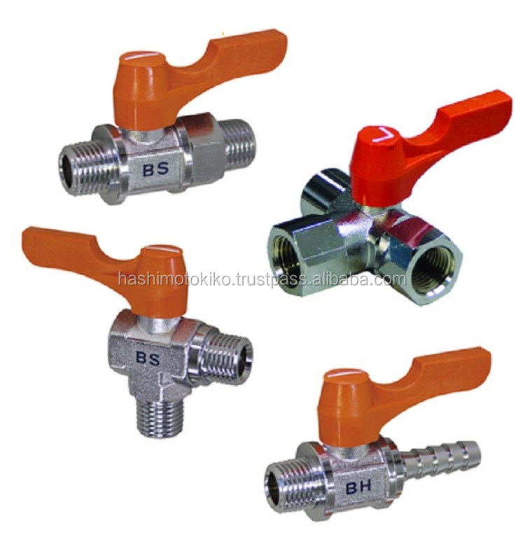 Direct connect three way small compact japanese ball cock valve