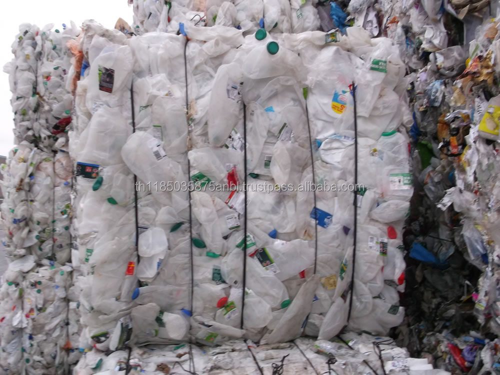 HDPE bottles (used) mixed colour bales