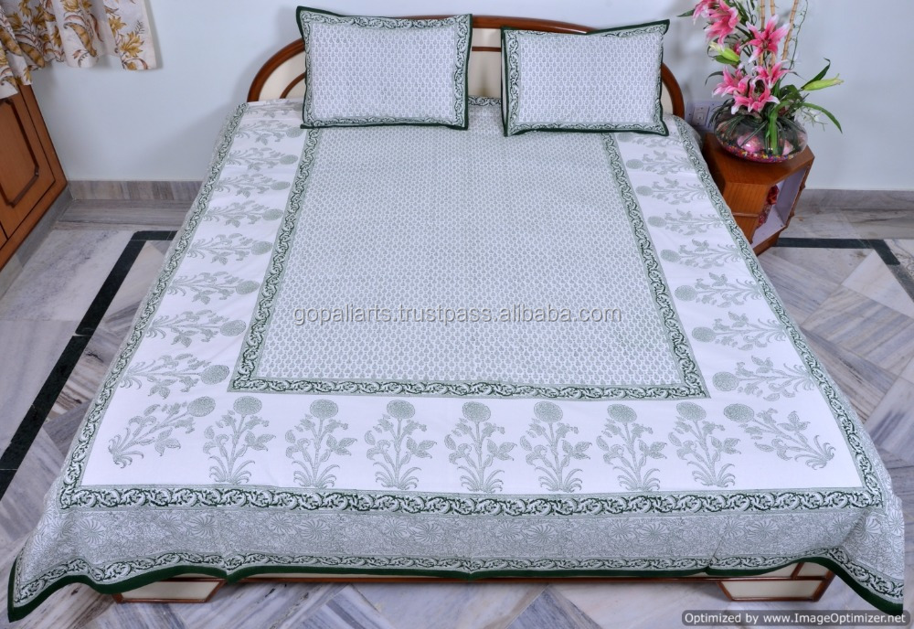 White Cotton 3pcs Set Bed Sheet Traditional Hand Block Printed Bed Cover Flat Sheet India Bedding