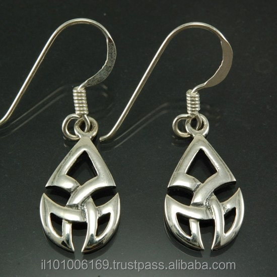 Celtic Knot Plain Trinity Silver Earrings, ep123