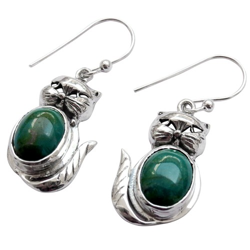 Impressive Cat Design Gemstone Turquoise 925 Sterling Silver Earring, Wholesale Silver Jewelry, Online Silver Jewellery