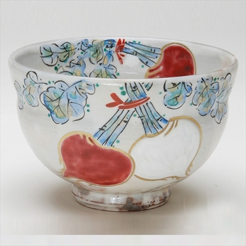 Cute Autumn tea bowl kohiki kouhakukabu with Tea utensils made in Japan