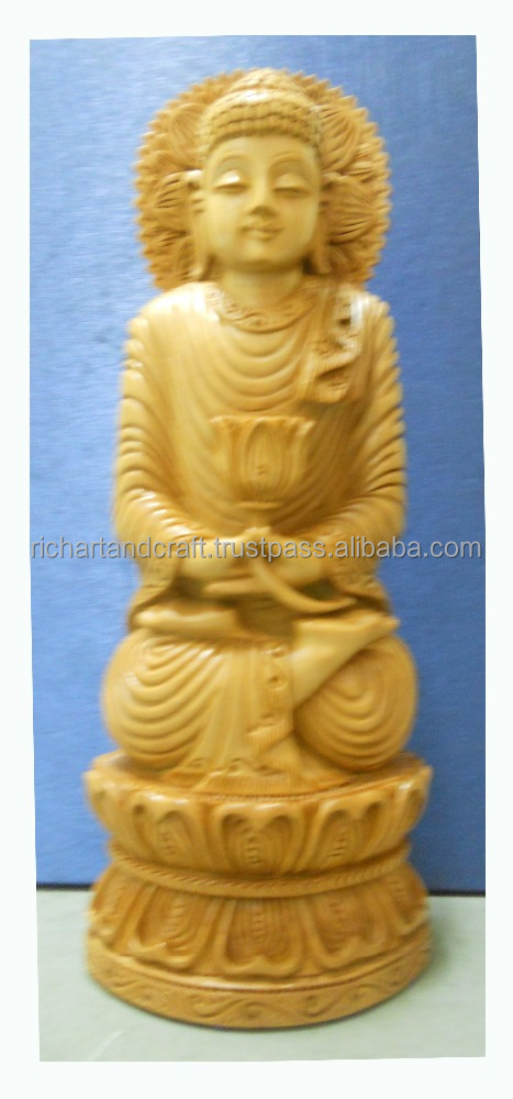 wooden Handicraft Buddhism Sculptural decor Gift Carving Handmade Sandalwood God Buddha Statue