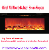 Black Wall Mount And Insert Electric Fireplaces 60""
