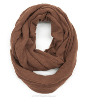 Cozy Color Simple Solid Knitted Rolling Up Border Infinity Scarf in/with Camel Brown Solid Color