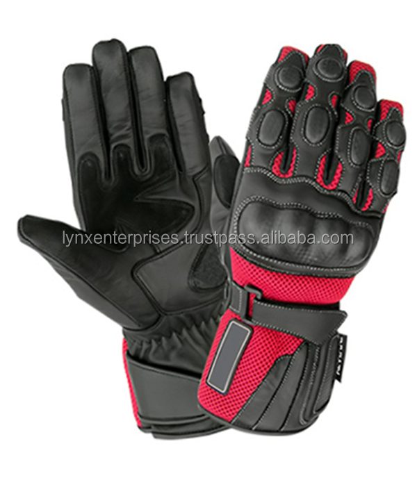 Leather Ladies Summer Motorbike Gloves Pink Black