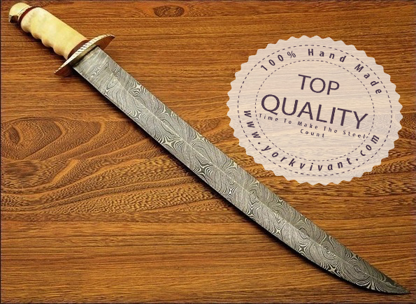 Sword by York Vivant-Custom Handmade Damascus Steel Blade Sword YV-AB104 Camel Bone & Brass Guard Handle