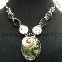 Shell, Shiva Eye, Smoky, Mystic, Gemstone Silver Necklaces, 925 Sterling Silver Jewellery, Handmade Silver Jewellery NKCC2015-1