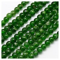 Natural Diopside Beads Strands, Round, DarkGreen, 6mm, Hole: 1mm G-J120-10-6mm