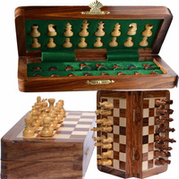12 X12 INCH FOLDING WOODEN STANDARD TRAVEL INTERNATIONAL CHESS GAME BOARD SET WITH MAGNETIC CRAFTED PIECES
