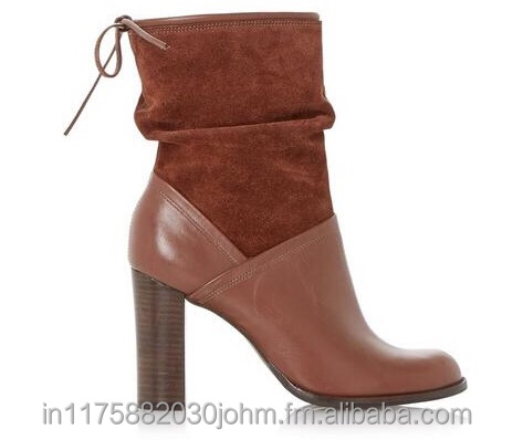 Leather+Suede High Heel ankle boots