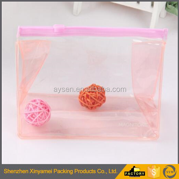plastic waterproof transparent pvc slider ziplock bag zipper puller bag stand up pouch clear pvc ziplock cosmetic brush pouch