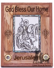 Saint George Olive Wood and Mother of Pearl Plaque Christian Gift Zuluf (R) - WAH026