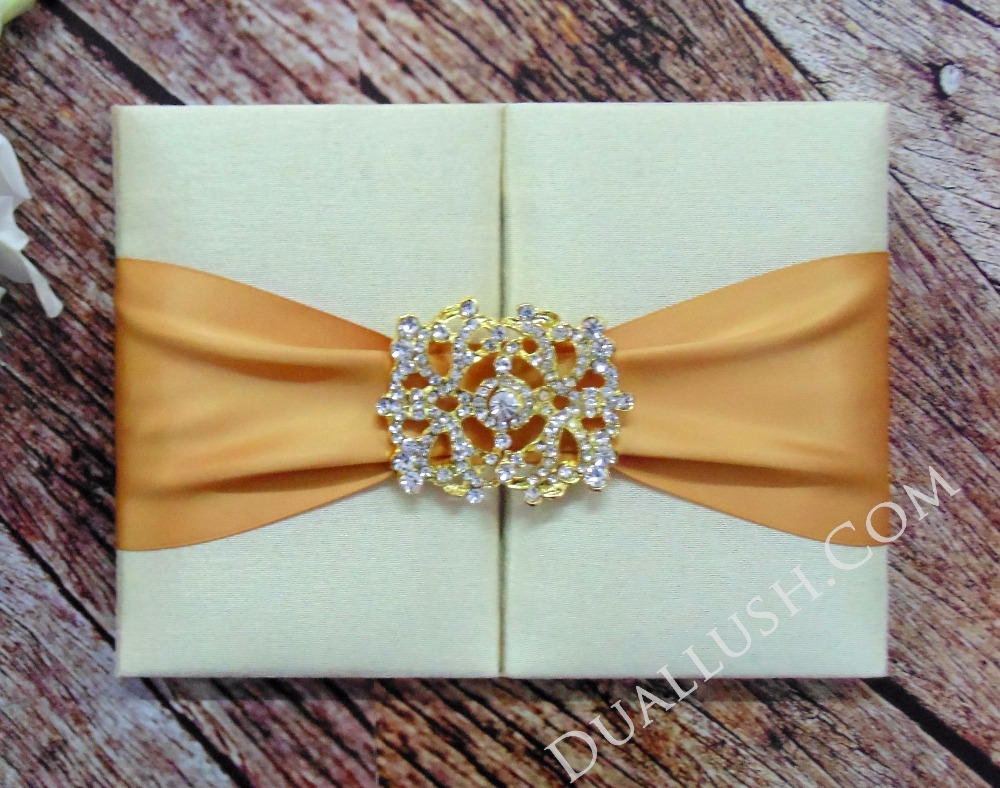 Luxury Ivory Dupioni Silk Wedding Invitation Folio With Gold Satin Ribbon And Rhinestone Brooch Buckle