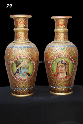 2 Pcs ceramic flower pot planter tans and browns with design Asian Painting Pot