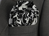Black, Floral, Pocket Square, Production, Manufacturing, custom, Hankercheif,