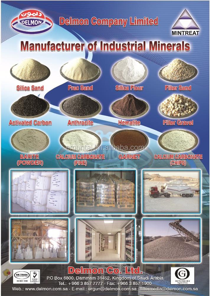 Silica Sand, Silica Flour, Frac Sand, Dry Sand, Filter Sand, Filter Gravel, Anthracite and Activated Carbon