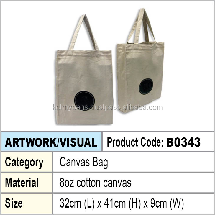 8oz Cotton Canvas shopping tote bag