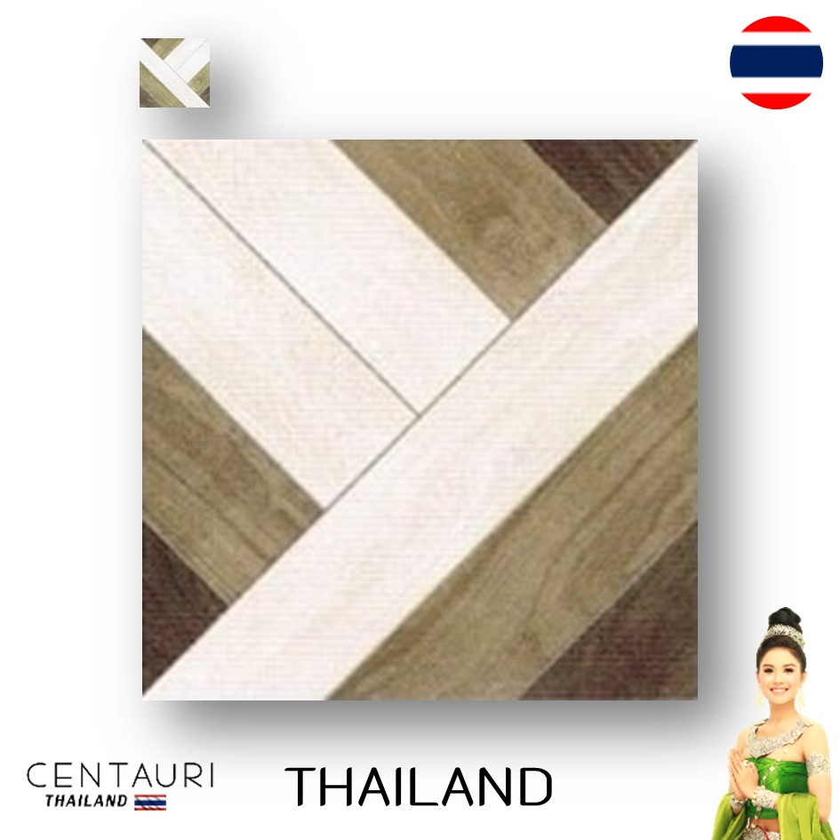 matt 400*400 mm new brown grey supergrey wood pattern design Thai porcelain interior tile and tile from Thailand