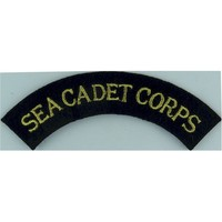 Sea Cadet Corps Shoulder Title - Curved Gold On Navy Blue Embroidered Naval Branch, rank or miscellaneous insignia