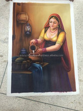 Beautiful Indian Cow Women Handmade Decor Canvas Oil Painting