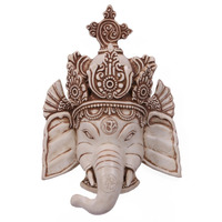 White Ganesha Wall Hanging Resin Handicrafts Elephant God Ganesh Mask Art Decorative Figure