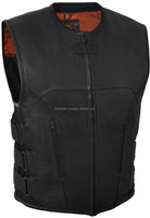 High Edge Mens Swat Team Style Leather Motorcycle Vest For Men with Side Size Adjustment (Black, Large)