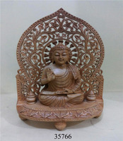 Manufacturer of Hand Carved Wooden Buddha jali Cut Religious Statues