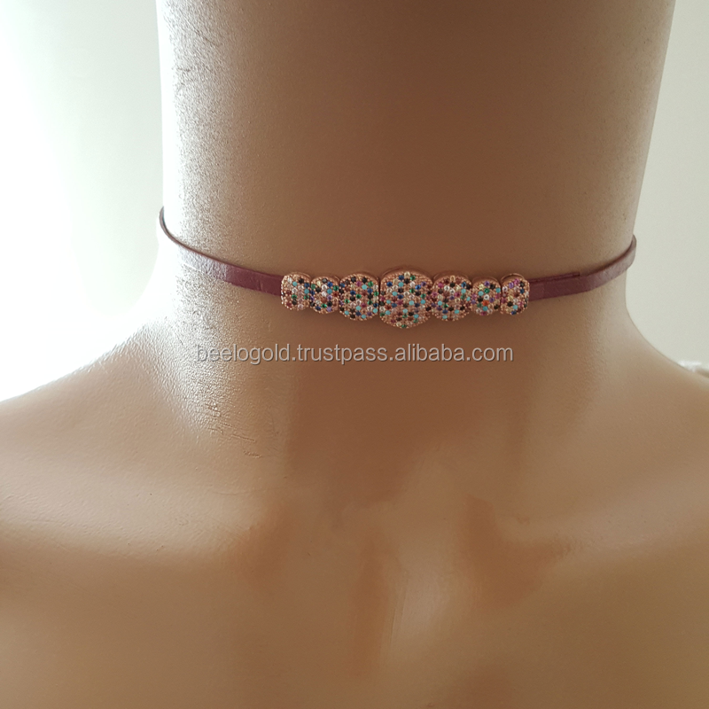 925 K Sterling Silver Choker Claret Red Leather Necklace Mix Stone