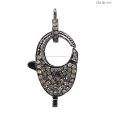 925 Sterling Silver Lock and Clasp Jewelry Pendant Findings Pave Diamond Clasp