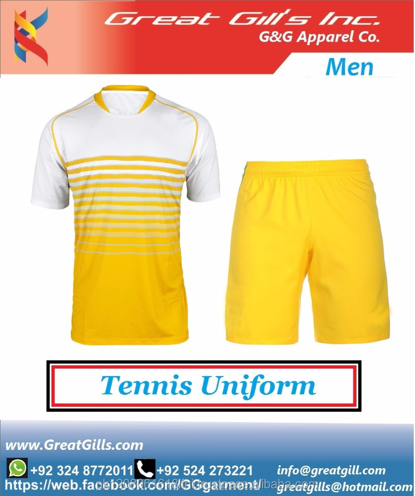 Men Tennis Jerseys in Stock White Blue Colors Tennis Uniforms / badminton uniforms