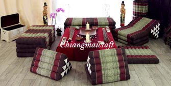 Triangle cushions, pillows and yoga mats of Thailand