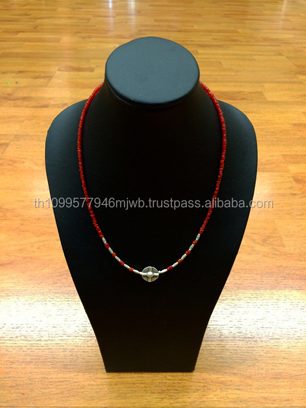 Handmade Silver Necklace with Red Glass Beads