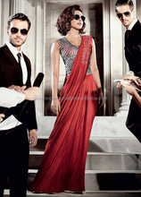 Rust Lycra Saree Style Gown Suit At Wholesale Rates