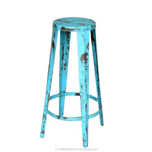 Distressed blue color metal high bar stool