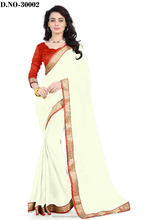 White Pure Georgette Saree In Surat
