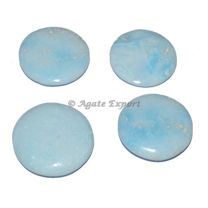 Gemstone Blue Aragonite Palm Stones Oval Cabochons