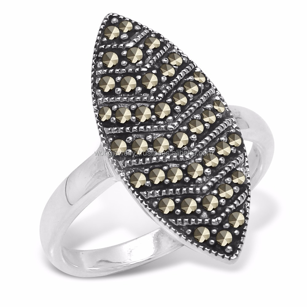 Marquise ring with marcasite silver jewelry