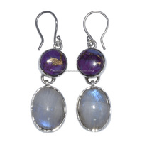 Stunning Design Purple Turquoise & Rainbow Moonstone Silver Earring, 925 Sterling Silver Earring, New Product Jewelry SHER0107