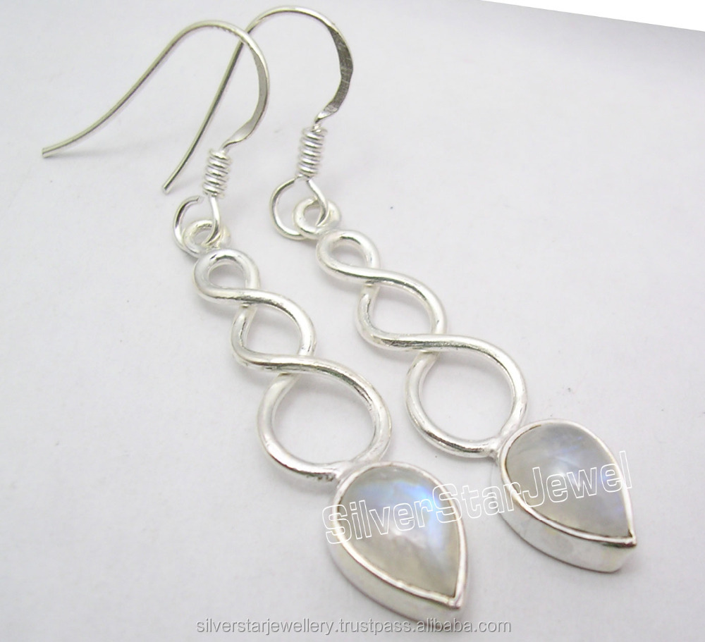 Hot Selling New Fashion 925 Sterling Silver Earrings for Women RAINBOW MOONSTONE Nice Dangle Earrings 4.9CM