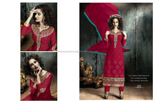 Red Embroidered Work Georgette Designer Straight Salwar Kameez