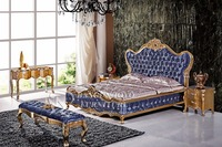 France neo-classice house wooden furniture bedroom white Gold bed