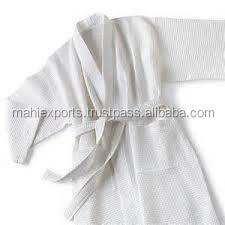 100% Terry cotton embroidered white bath robe for adults