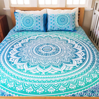 Indian Duvet Cover Mandala Ethnic Quilt Covers Throw Screen Printed Cotton Doona Cover