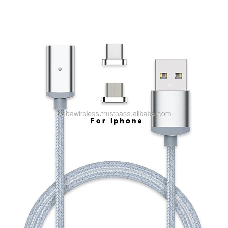 Micro Led USB Braided Charging Cable Magnetic Date Multi Cable For iphone