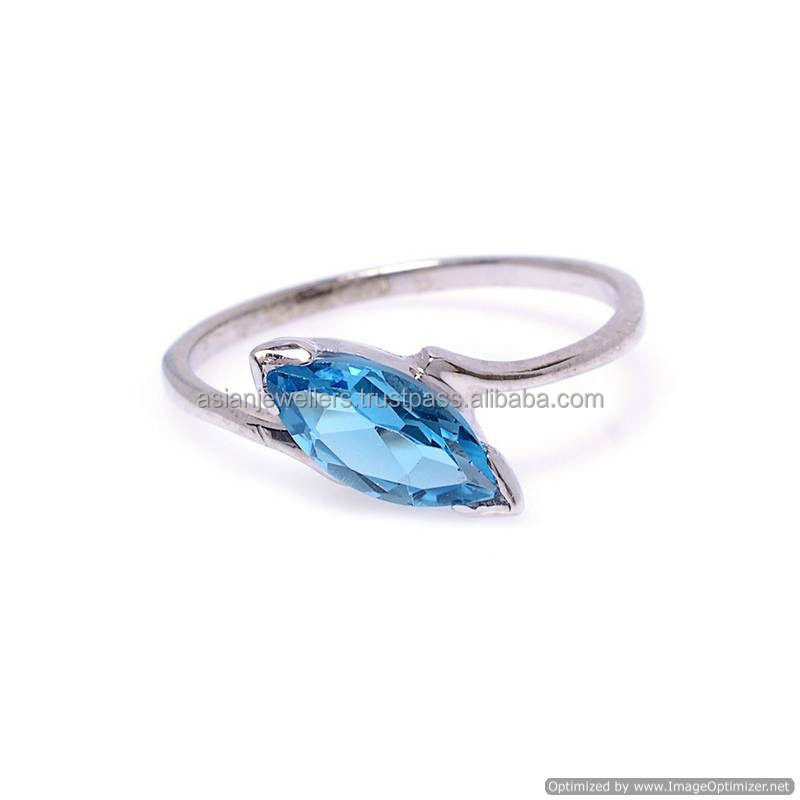 Natural Blue Topaz rin silver ring jewellery wholesale silver jewellery