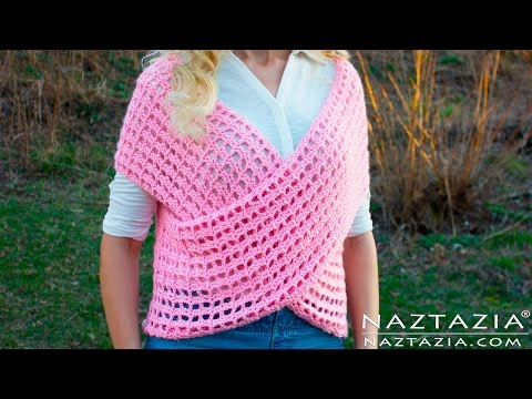 DIY Tutorial - Crochet Wrap Sweater Vest - Criss Cross Wrapped Front Top Tunic