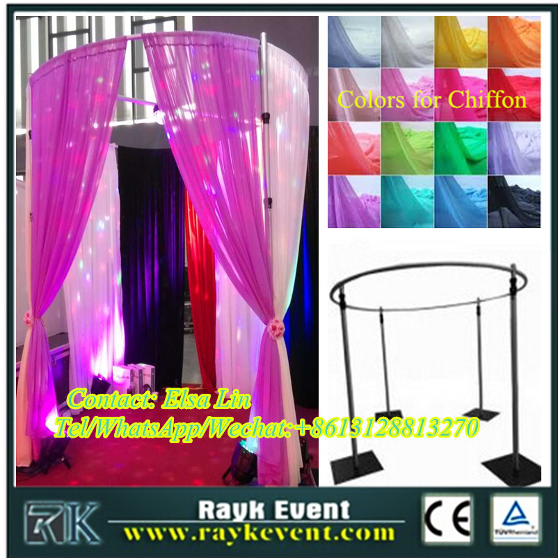 Wedding pipe and drape round furniture fabric photo booth backdrop from China factory