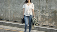 Best selling women t shirt, korea design in bulk, blank t shirt